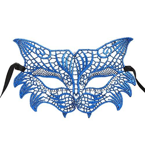 Coerni Top Fashion Sexy Venetian Halloween Lace Masquerade Catwoman Charming Mask 3 Color (Blue) -