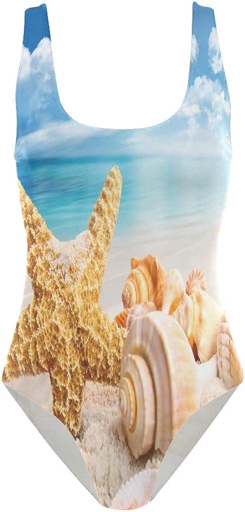 HEOEH Shells Starfish Blue Sky Sea One Piece Swimsuit Swimear Bathing Suits Beach Suit for Women