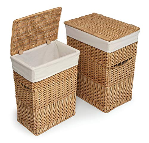- Wicker Two Laundry Hamper Set with Lids and Fabric Liners