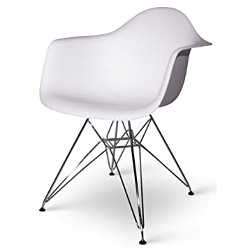 High Quality Set Of Two (2) White   Eames Style Arm Chair With Chromed Steel Legs