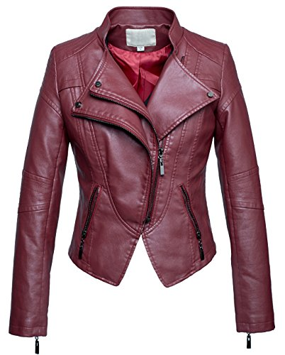 chouyatou Women's Fashion Tailored Zip-Up Faux Leather Quilted Racer Jacket (XX-Large, Dark Red)