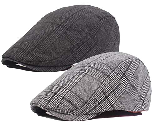 Qunson 2 Pack Mens Classic Cotton Flat Cap Ivy Gatsby Newsboy Driving Hat