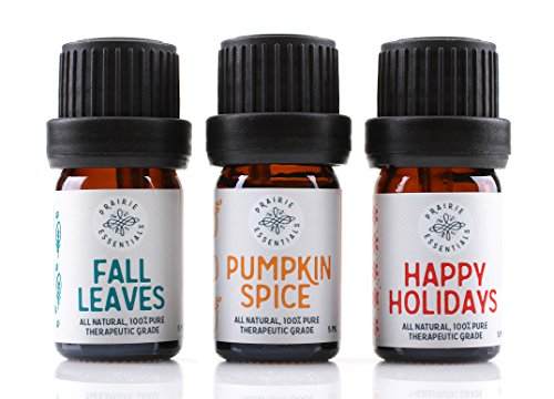Prairie Essentials Holiday Essential Oil Blends 3-pack (Pumpkin Spice, Fall Leaves, Happy Holidays), 100% Pure, Undiluted, Therapeutic Grade ()