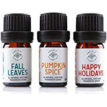 Prairie Essentials Holiday Essential Oil Blends 3-pack (Pumpkin Spice, Fall Leaves, Happy Holidays), 100% Pure, Undiluted, Therapeutic Grade