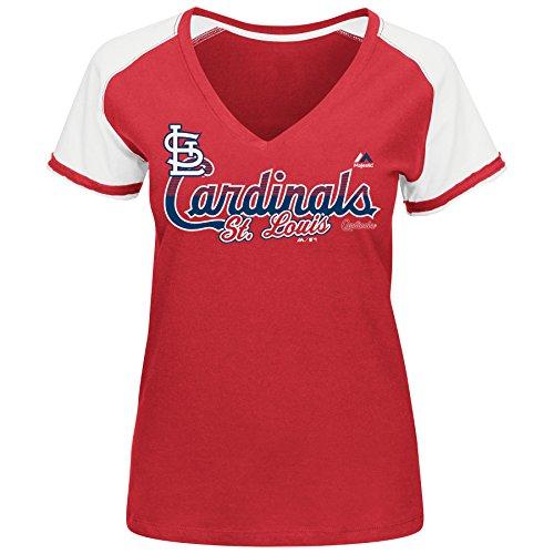 MLB Women's Winners Circle Short Sleeve V-Neck T-Shirt (Large, St. Louis Cardinals)