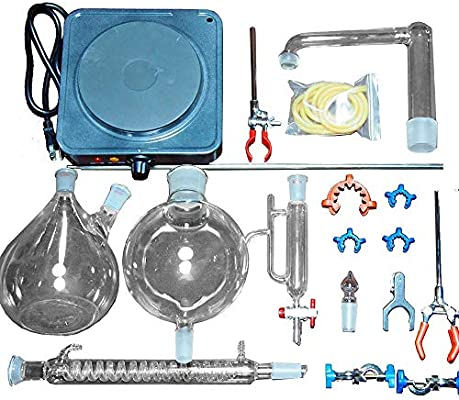 XIAOXIAO Equipo de destilación de Vapor de Aceite Esencial 2000ML Destilador de Agua Purificador Experimento de ...