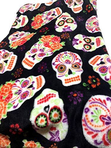 HOME EXPRESSIONS Colorful Sugar Skulls Plush Throw Blanket - 90