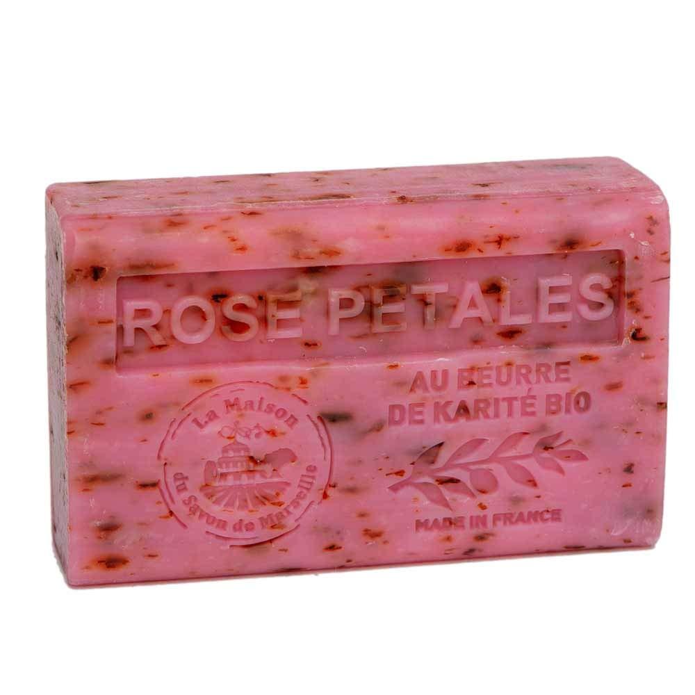 Maison du Savon de Marseille - French Soap made with Organic Shea Butter - Rose Petals Fragrance - 125 Gram Bar
