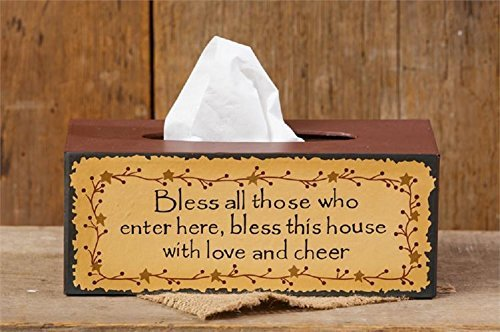 (Bless This House with Love and Cheer Primitive Tissue Box Cover)