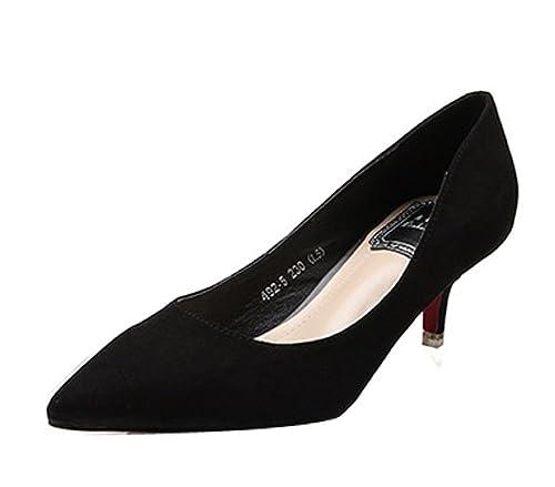 edfb79a5de6 Ladola Womens Professional Kitten-Heel Slip-Resistant Suede Pumps ...