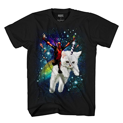 (Marvel Deadpool Space Trip Unicorn Kitty Adult T-Shirt (Black,)