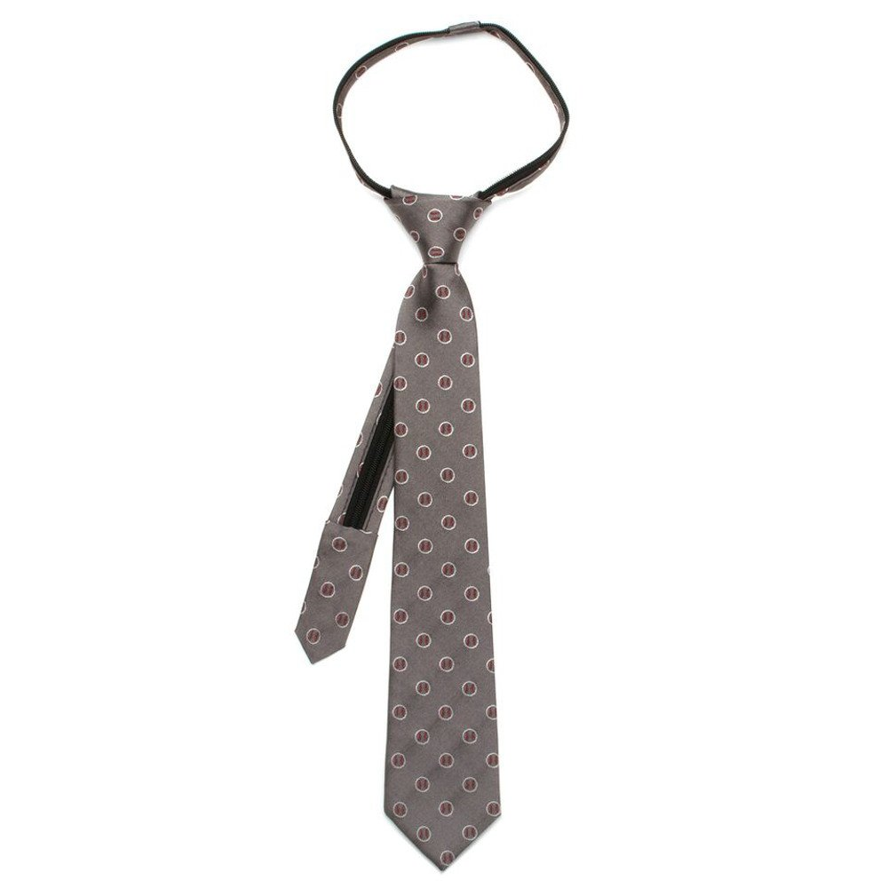 Ox & Bull 100% Silk Grey Baseballs Boys Sports Zipper Pre-Tied Necktie Tie Neckwear