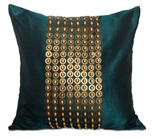 The White Petals Dark Teal Gold Decorative Pillow Cover Gold Sequins Wood Bead Embroidery in Panel Pattern (18x18 inch, Dark Teal)