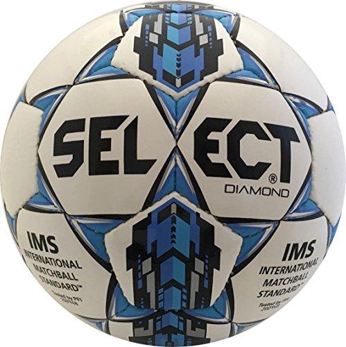 Select Diamond Soccer Ball, White/Blue, 4
