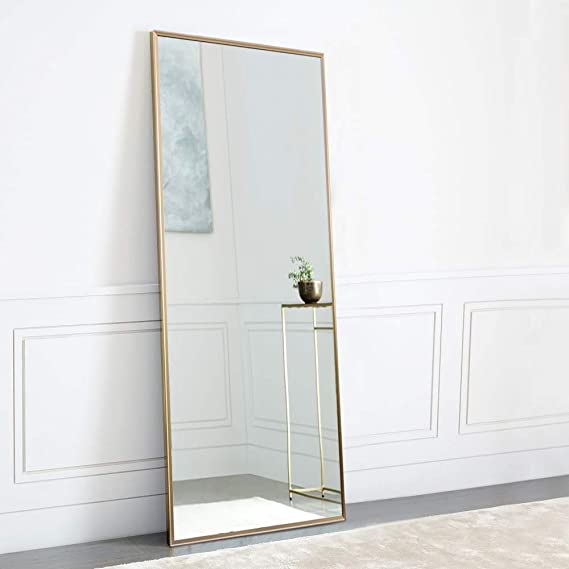 """Neu Type Full Length Mirror Standing Hanging Or Leaning Against Wall, Large Rectangle Bedroom Mirror Floor Mirror Dressing Mirror Wall Mounted Mirror, Gold Solid Wood Plaster Frame, 65""""X22"""" by Neu Type"""