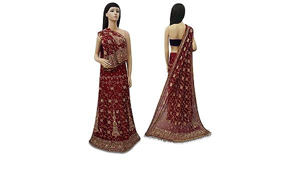 Vino de lectura tipo NOVIA India lehenga Set mano cuentas Net Tela Maroon vestido usadas: Amazon.es: Hogar