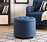 "Sunjoy 120209002-N Indoor Ottoman Storage Chest Seating Foot Stool with Tray, 20"", Navy"