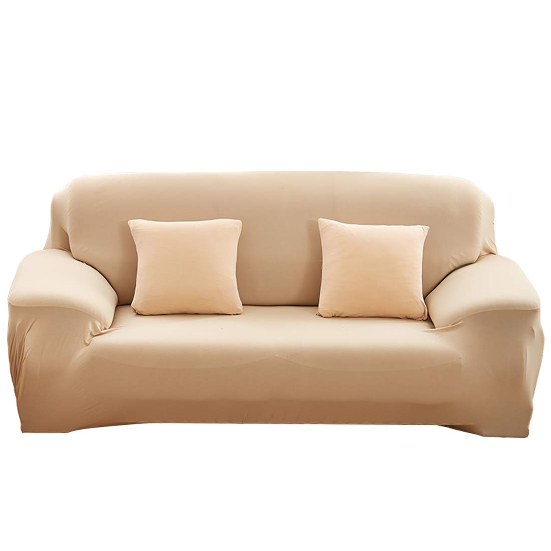 FamyFirst Sofa Cover All-Inclusive Stretch Slipcover Furniture Protector with High Elasticity Skin Friendly Slipcover Suit for Most Sofa 1 Seater Beige