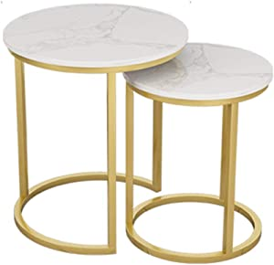 Coffee Tables WFF Round Nested Table, Metal Side Table, Marble Table Top, 2 Piece Set - Gold