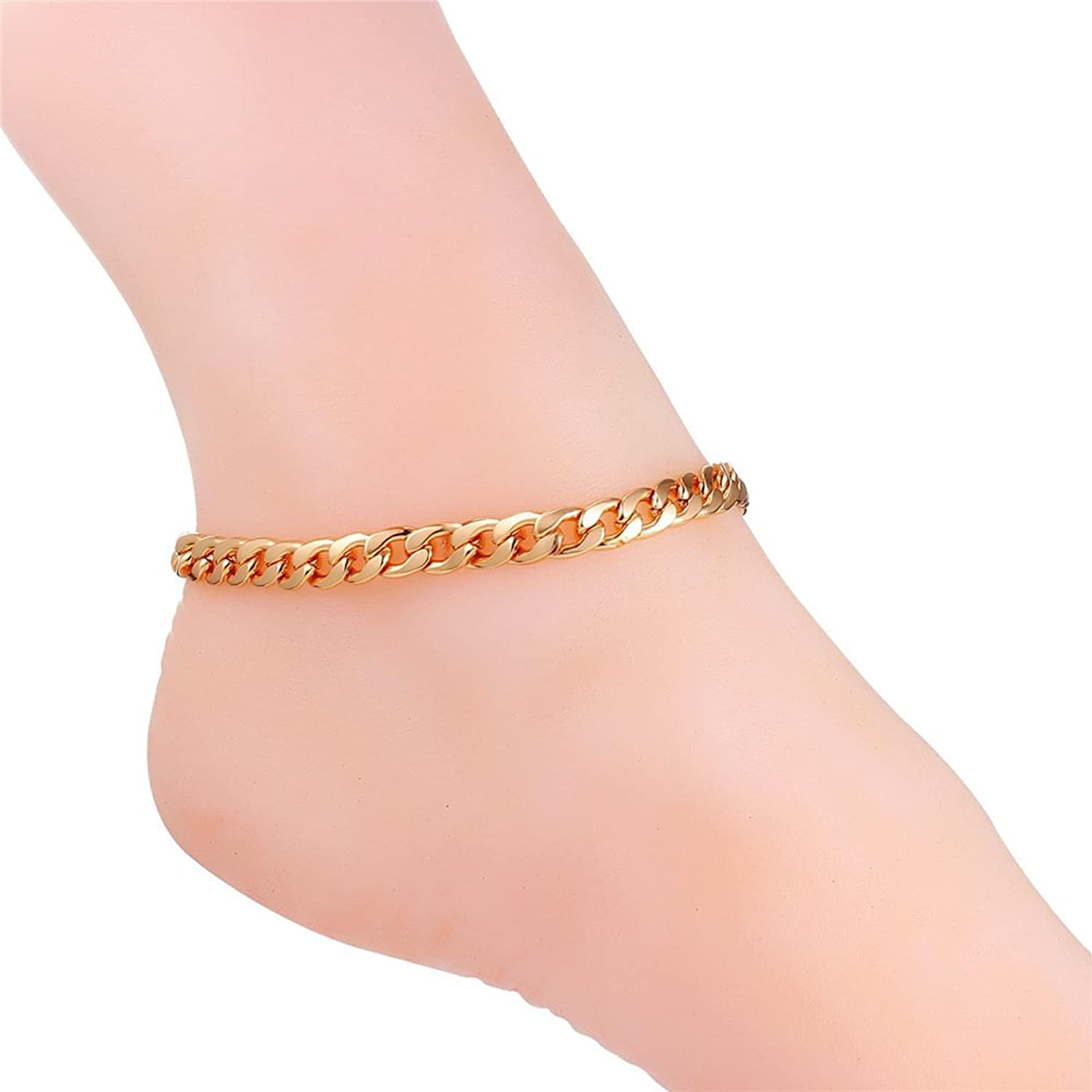 mens figaro s gold yellow loose link men bracelet anklet chain l