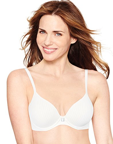 Hanes Women's Ultimate T-Shirt Soft Foam Light Lift Bra, White Stripe Heather, -