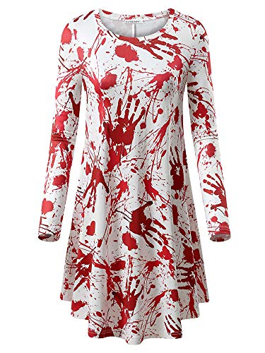 GUBERRY Halloween Clothes Party Long Sleeve Swing Scrary Print White Tunic Dress]()