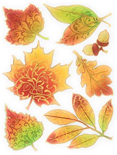 Nantucket Home Fall Leaves Autumn Glitter Vinyl Window Clings