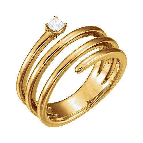 (FB Jewels 14K Yellow Gold 1/10 CTW Diamond Freeform Ring Size 7)