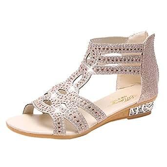 f18c4871fec Sunyastor Women Shoes Ladies Summer Sandals Wedge Sandals Fashion Fish  Mouth Hollow Roma Shoes Walking Girls