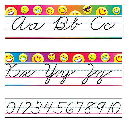 Bulletin Guide - TREND enterprises, Inc. T-8287 Emoji Alphabet Line Standard Cursive Bulletin Board Set