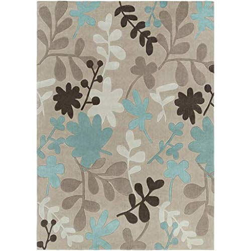 Devon Contemporary Floral 8' x 11' Rectangle Transitional 100% Polyester Taupe/Teal/Khaki/Dark Brown/Camel Area Rug