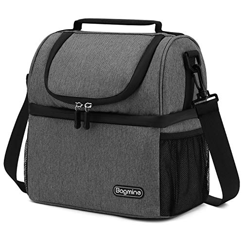 Insulated Lunch Bag for Men Women, Bagmine Adult Lunch Box for Meal Prep Waterproof Zipper & Leak-proof Inside Cooler Bag with 2 Spacious Compartment for For Commuter, School, Camping Gray