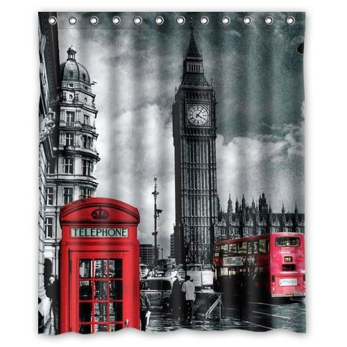 """LOVEBIG store - Classic British London Red Telephone Box And Big Ben pattern polyester Shower Curtain 60"""" x 72"""" Inches"""