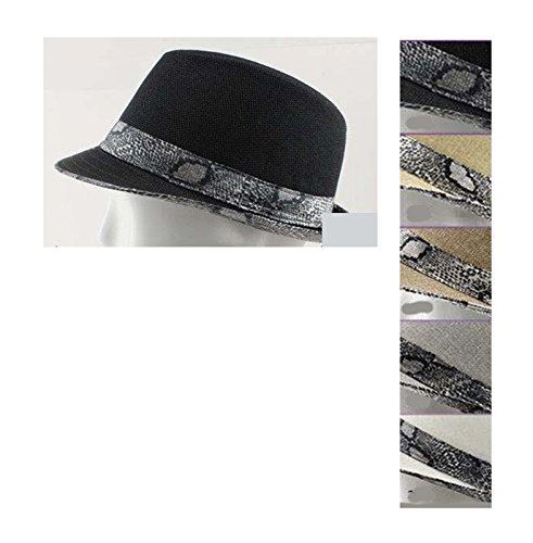 Fedora Trilby Hats for Adults with Silver Faux Snake Skin Bands - Beige (FedHat42W Z)