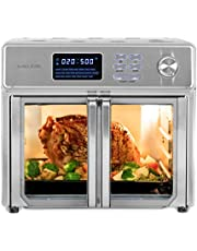 Kalorik 26 QT Digital Maxx Air Fryer Oven with 9 Accessories, Roaster, Broiler, Rotisserie, Dehydrator, Oven, Toaster, Pizza Oven and Warmer. Includes Cookbook. Sears up to 500⁰F. Extra Large Capacity, All in One Appliance - Stainless Steel
