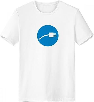 DIYthinker Azul Enchufe cable de carga del cable del patrón de cuello redondo camiseta blanca de manga corta Comfort Deportes camisetas de regalos - Multi - XXXL: Amazon.es: Ropa y accesorios