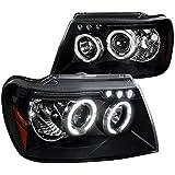 Spec-D Tuning 2LHP-GKEE99JM-TM Jeep Grand Cherokee Black Halo Led Projector Head Lights