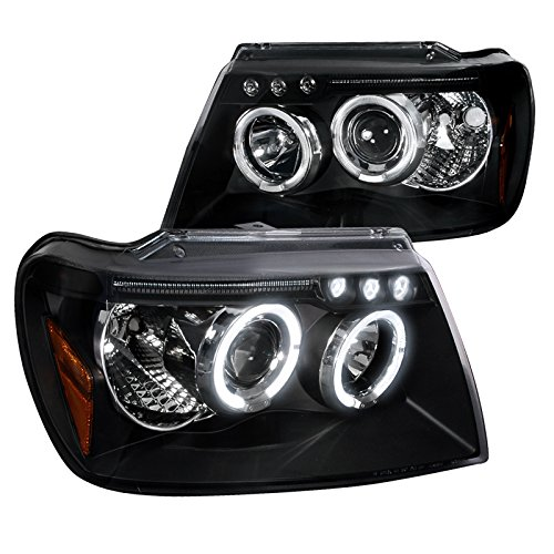 Spec-D Tuning 2LHP-GKEE99JM-TM Jeep Grand Cherokee Black Halo Led Projector Head Lights 2000 Grand Cherokee Headlights