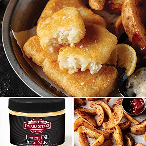 Omaha Steaks English Pub Fish and Chips Combo (3-Piece with Pub-Style Cod Filets, Steakhouse Fries, and Lemon Dill Tartar Sauce)