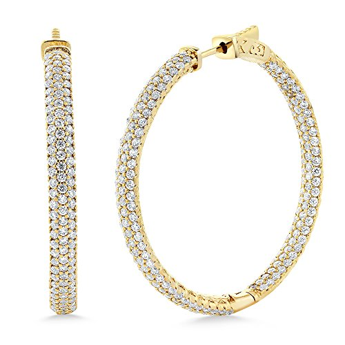 - Gem Stone King Stunning 18K Yellow Gold Plated CZ Pave Hoop Earrings (35mm = 1.5 Inch)