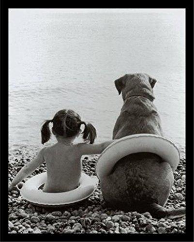 19Y 20x16 1.25 Black Plexi Framed Girl with Dog Cute Friendship Photograph 20X16 Art Print Poster Sitting On Rocks at Beach Black & White (Buy Black White Photographs)
