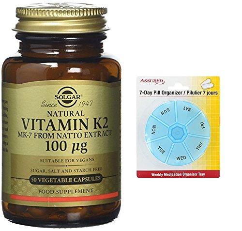Amazon.com: Solgar - Natural la vitamina K2 (MK-7) 100 mcg 50 cápsulas de vegetales cuenta con gratis 7 días plástico píldora organizadores: Health ...