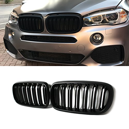 (F15 Grille, ABS Front Replacement Kidney Grill for X5 Series F15 X6 Series F16 X5M F85 X6M F86 (ABS, Matt Black))