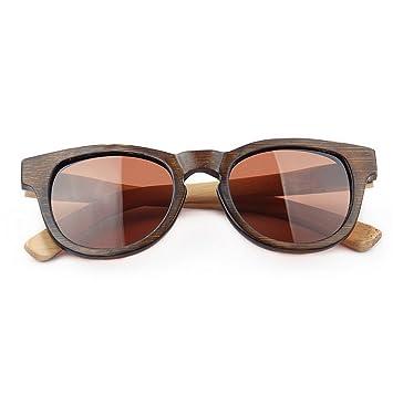 Junjiagao Gafas de Sol de Hombre Gafas de Sol de bambú Retro ...