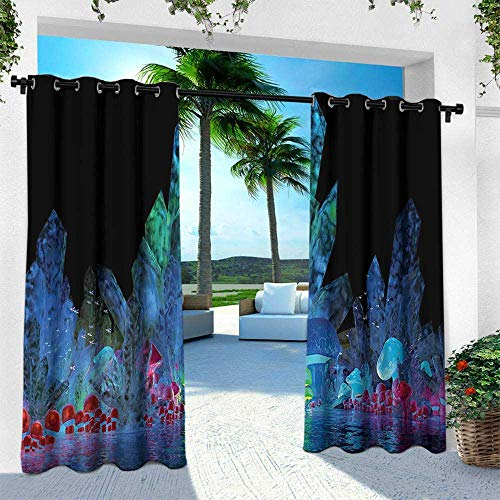 Hengshu Psychedelic, Outdoor Privacy Porch Curtains,Magic Crystals Background Effects Mystic Nature Artistic with Neons Image Print, W96 x L84 Inch, Navy Black
