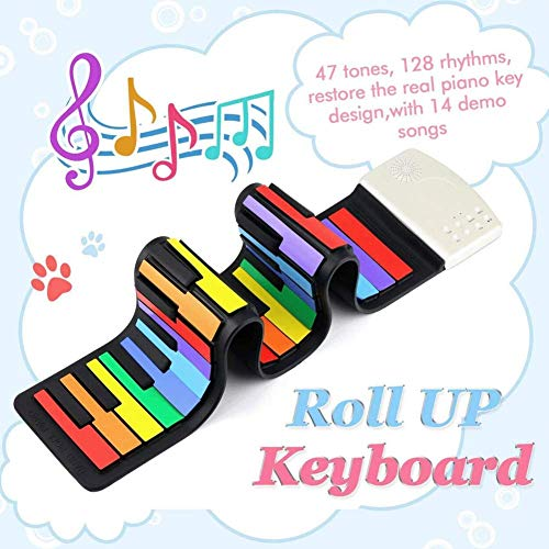 RYSD-MT Kids' Pianos Keyboards Rainbow 49 Standard Keys Soft Silicon Electric Digital Roll Up Keyboard Piano- Foldable Flexible with 47 Tone 14 Demo Songs Recording Play