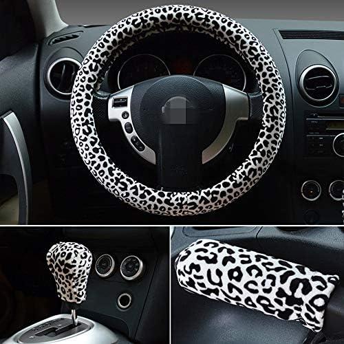 Stampa Leopardo HONCENMAX 3 Pack Felpa Morbido Veicolo Coprivolante Comodo Inverno Protezione per Volante dellautomobile Universale Diametro 38 cm 15