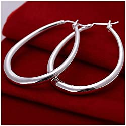 Foreverstore 925 Sterling Silver Fashion Classic Big Hoop Drop Dangle Earring