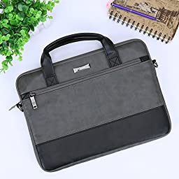 13.3 inch Laptop Shoulder Bag, Evecase Leather Modern Business Tote Briefcase Laptop Messenger Bag with Accessory Pockets ( Fits Up to 13.3-inch Macbook, Laptops, Ultrabooks) - Black / Gray