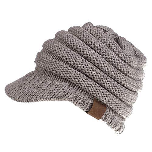 Dukars Women's Warm Chunky Cable Knit Messy Bun Hat Ponytail Visor Beanie Cap (Light Grey)